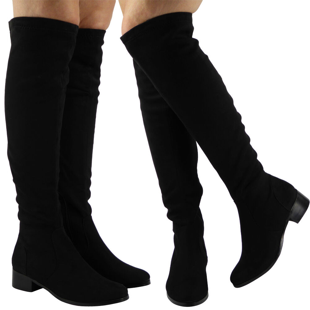 Ladies Womens Thigh High Over The Knee Mid Low Heel Stretch Long Boots Shoes Siz