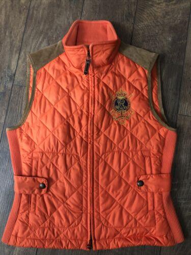 Ralph Lauren Orange Quilted Equestrian Vest Suede