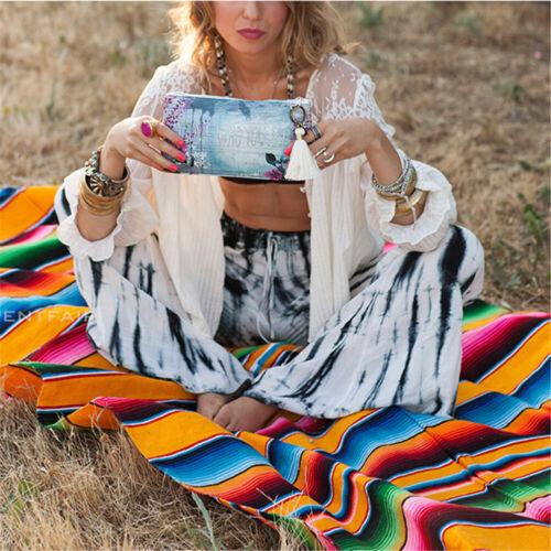 Mexican Serape Blanket Yoga Throw Rug Sarape Saltillo Tablecloth Table Runner