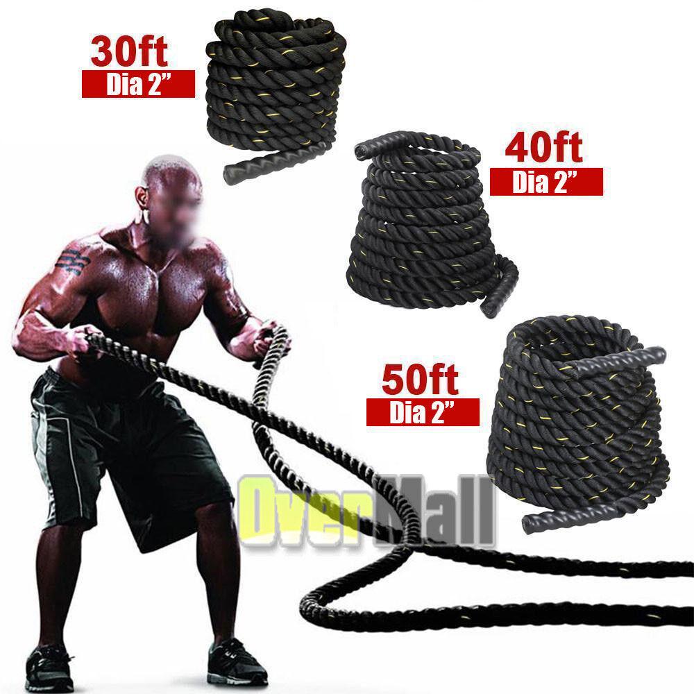 2  50FT Poly Dacron Battle Rope Exercise Workout Strength Training Undulation US