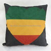 Rasta Reggae Love Heart Cotton Linen Cushion Cover Unique Decorative Pillows