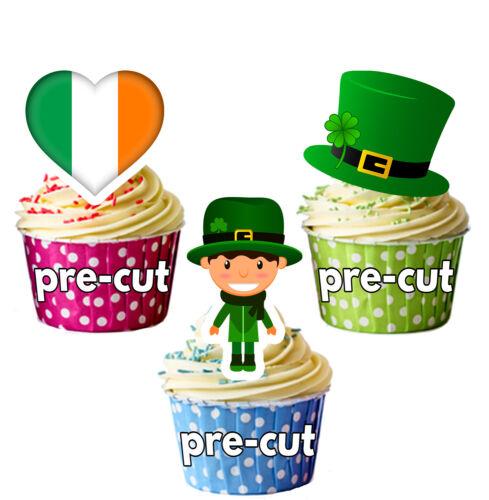 St Patricks Day Precut Cupcake Toppers Cake Decoration Irish Flag Hat Leprechaun