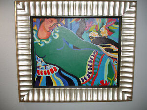 FRAMED-SIGNED-VIVID-OIL-ON-CANVAS-SENORITA-IN-GREEN-DRESS-BY-CONI-DONALDSON-2004