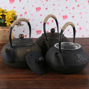Japanese style 900ml cast iron kettle flower teapot comes with strainer 9213hc - Japanese teapot with strainer ...