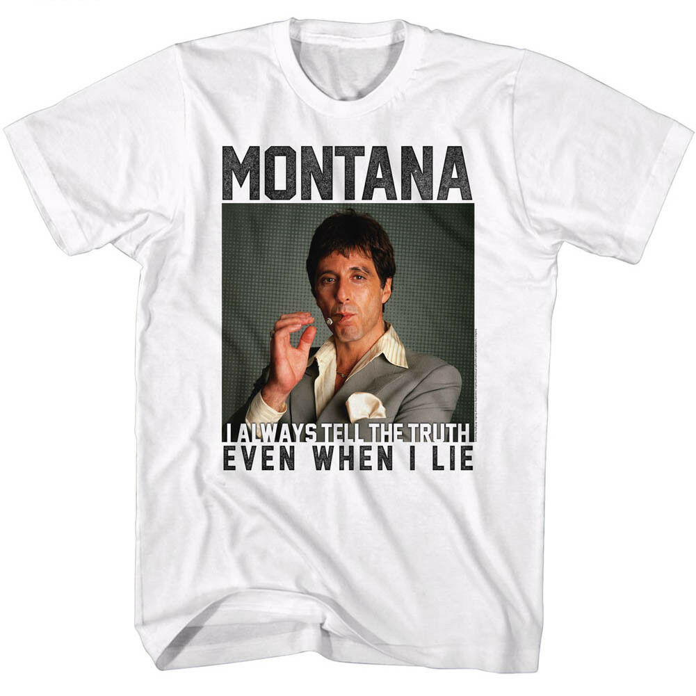 9a542aa7f MEN'S OFFICIAL Scarface Movie AL PACINO T-SHIRT Montana White Cotton SM -  5XL