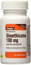 Rugby Simethicone Gas Relief 180mg (Comp to Ultra Strength Phazyme) 60 Softgels