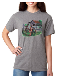 USA-Made-Bayside-T-shirt-Country-Farm-farmer-antique-barn-tractor-parts