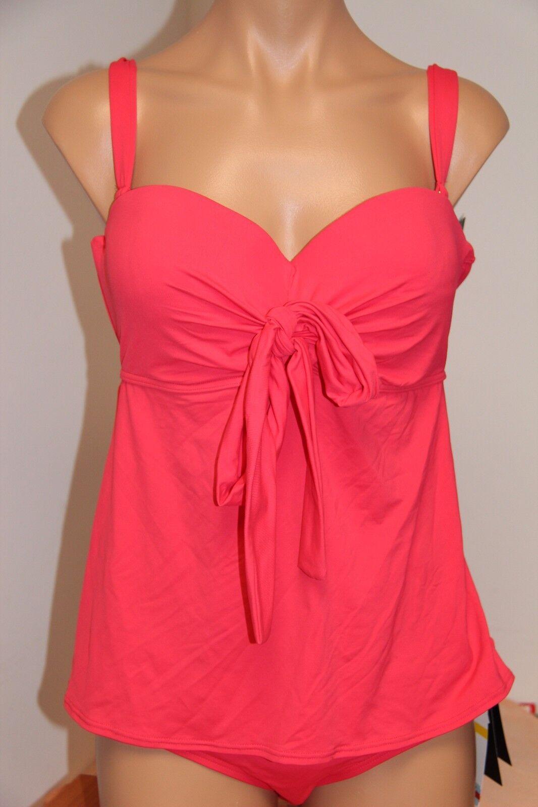 NWT Coco Reef Swimsuit Bikini Tankini 2pc set Sz M 32 34D Five Way Coral