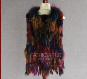 Waistcoat Jacket Coat Warm Multicolor New 100% Real Rabbit /Raccoon fur Vest