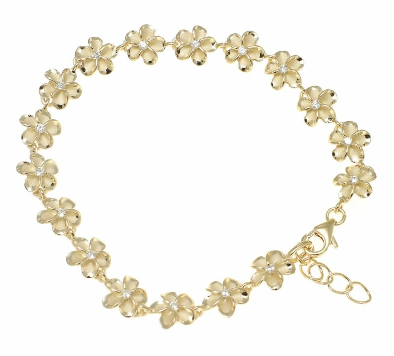 Yellow Gold Plated Silver Hawaiian Fancy Plumeria Flower Bracelet Cz 8mm 7.5""