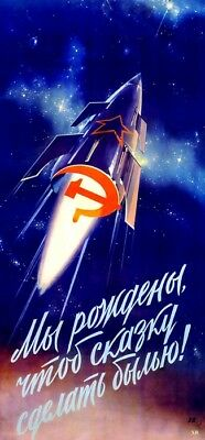 Helpful Soviet Russia Ussr Propaganda Space Poster Full Color Glory Hero Cccp Buy It Now