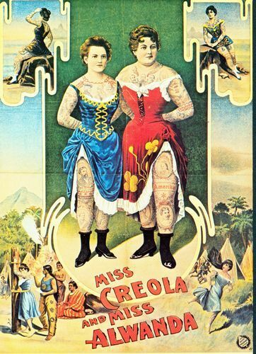 1904 German Circus Tattooed Ladies Poster  A3 A2 Print