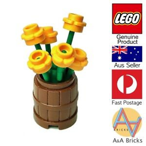 Genuine-LEGO-Flower-Pot-Barrel-with-Yellow-Flowers-All-new-parts-MOC