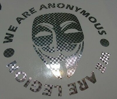 Silver carbon fiber Anonymous WE ARE LEGION mask vinyl decal sticker Anon 4Chan