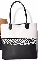 Avons Pop Of Zebra Animal Print Expandable Tote Bag/handbag