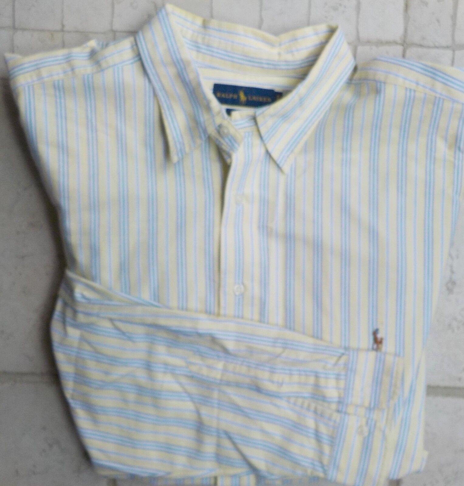 Ralph Lauren Striped 100% Cotton Button Down Shirt Classic Fit 2XLT Yellow, bluee