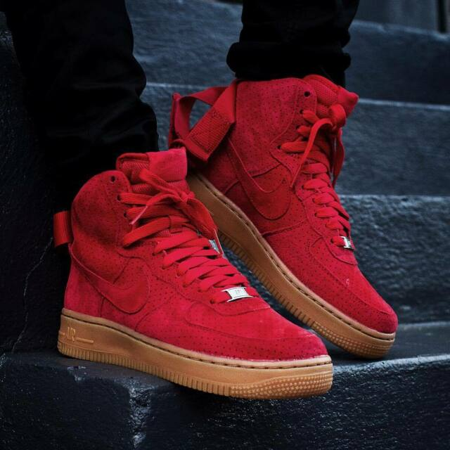 d92ea2eef0a Nike Air Force 1 Hi Top Suede University Red Women s Sz 9.5 NWB 749266 601 for  sale online