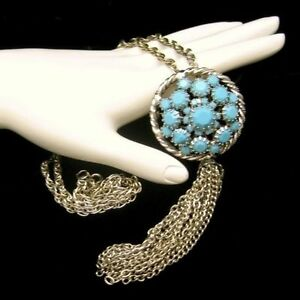 Vintage-Convertible-Aqua-Turquoise-Glass-Pendant-Brooch-Pin-Tassels-Necklace