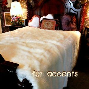 Throw Blanket Plush Faux Fur Bedspread Comforter Fur Accents Original Black and Gray Chinchilla with Minky Cuddle Fur Lining USA