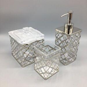 3pc bella lux quatrefoil chrome glass soap pump dispenser for Bella lux bathroom accessories uk