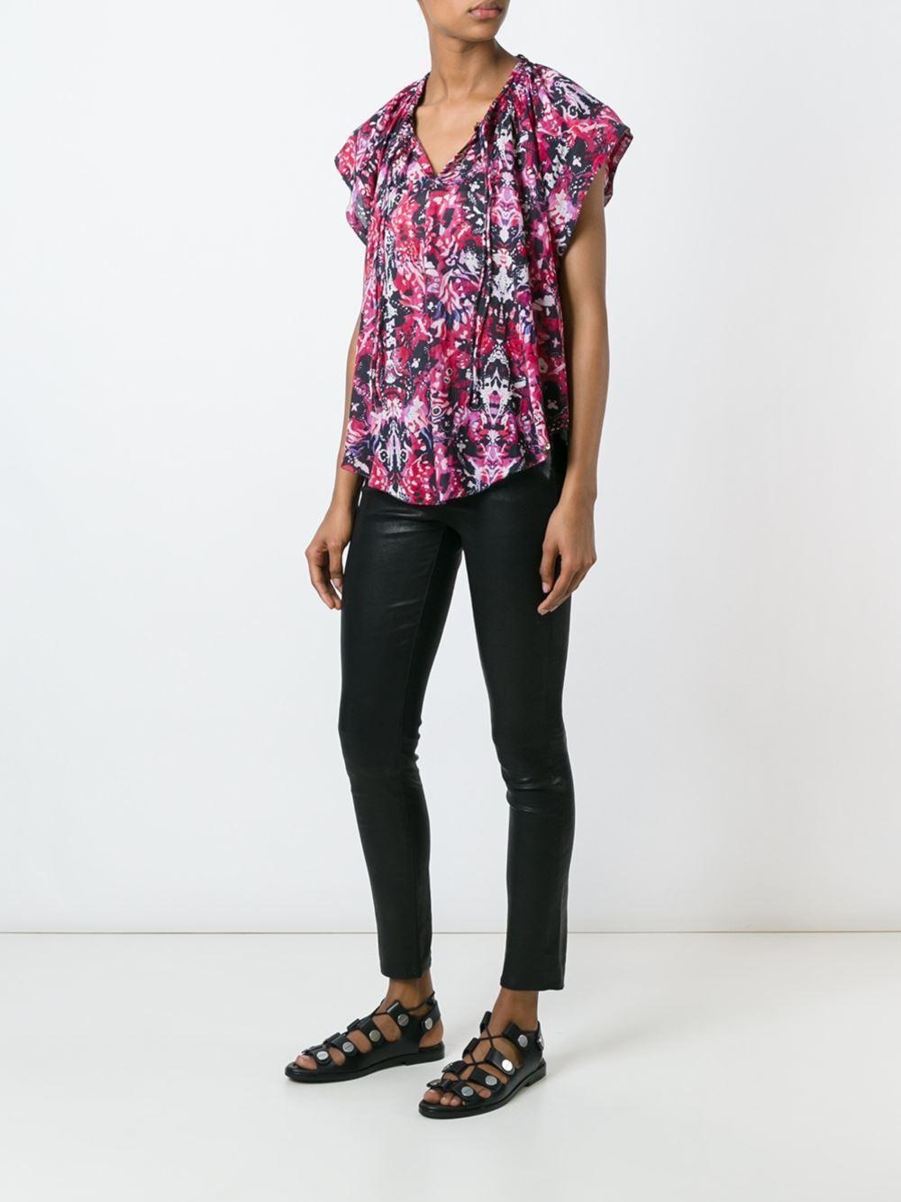 IRO Iseline Abstract Print Cotton Caftan Short Sleeve Rosa Peasant Shirt Top- 4