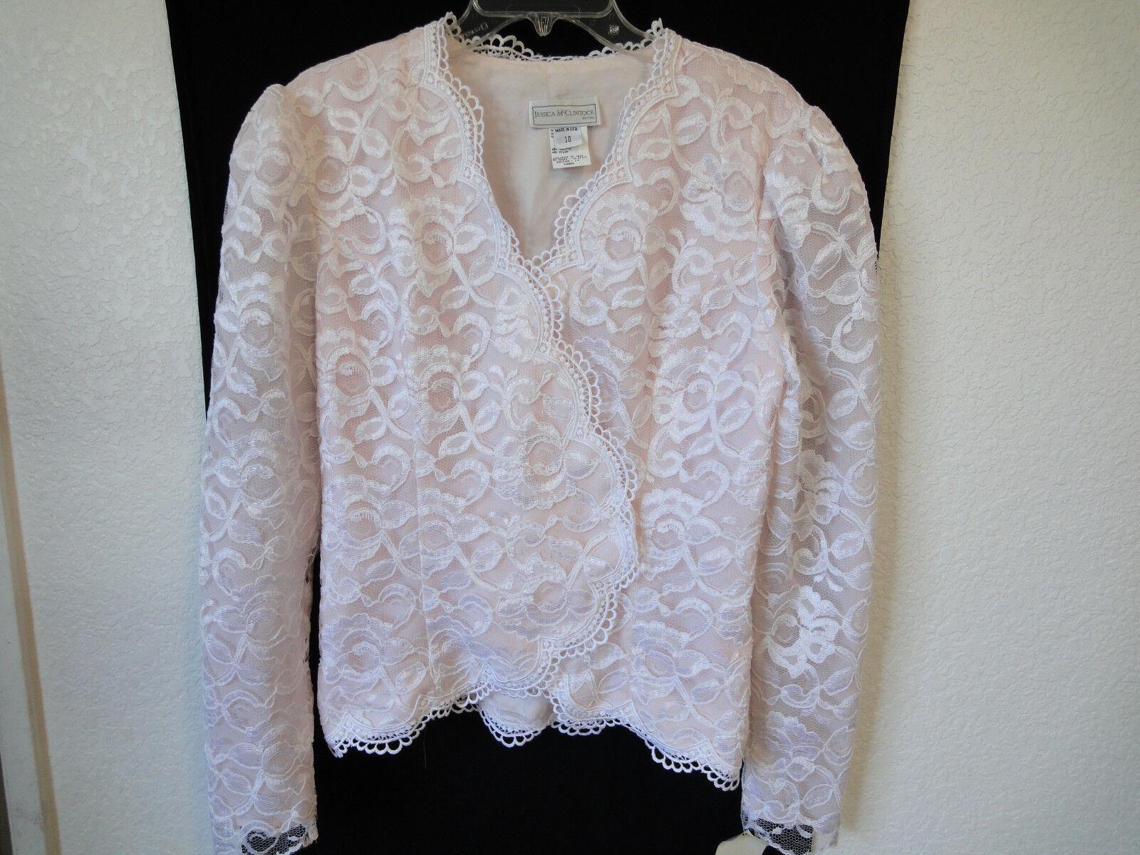 NWT- JESSICA McLINTOCK BRIDAL scallop lace taffeta top light pink size 10