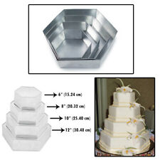 Set of 4 Tier Hexagon Multilayer Birthday Wedding Anniversary Cake Tins/Cake Pan