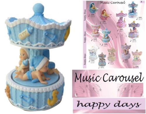 N.1 Bonbonniere Karussell Baby' himmelblau Cm.11Dx16H mit CARILLON Mechanisch Spieldosen