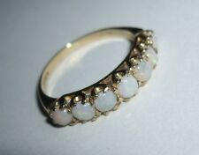 Hallmarked HM 9ct 9k Gold Seven Opal Eternity Band Ring