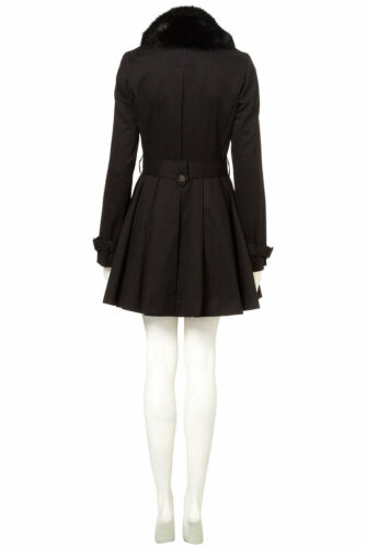 sintetica pelliccia 12 Topshop nero Colletto gonna Uk di in in con trench New pq1ItRn