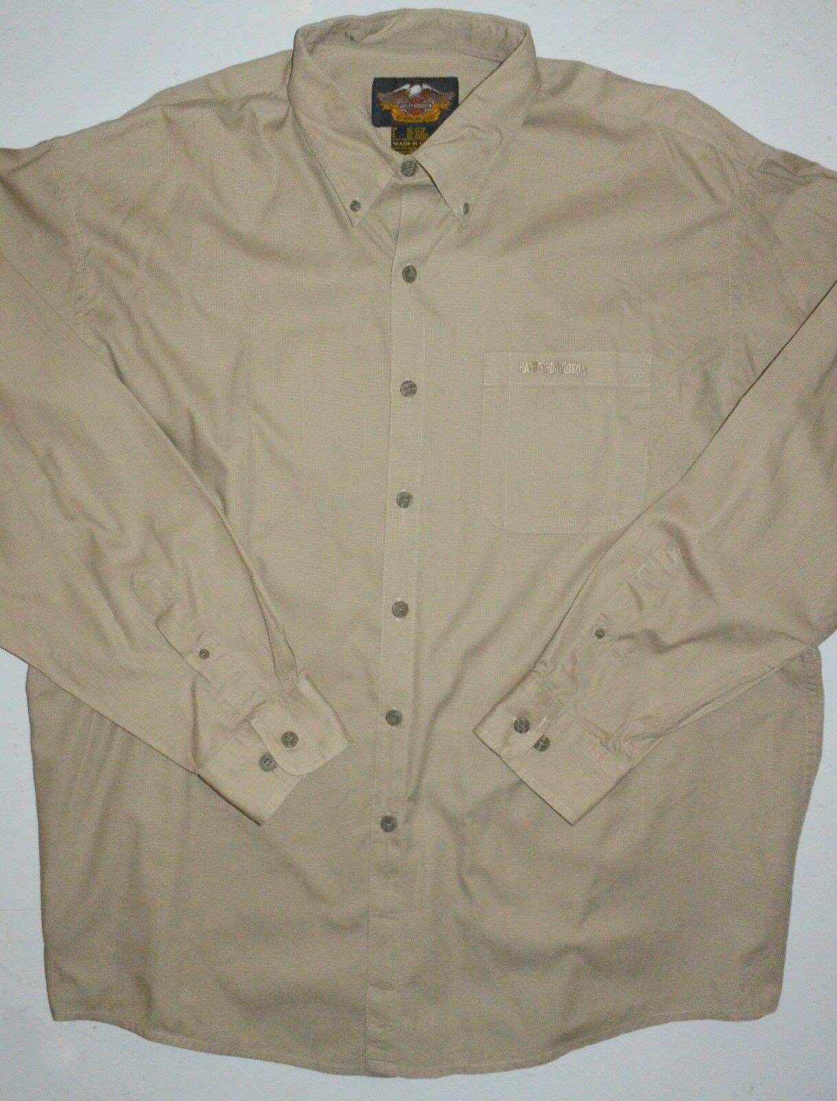 Mens XL Harley-Davidson Button Front LS Tan Ripstop Cotton 37 Sleeve