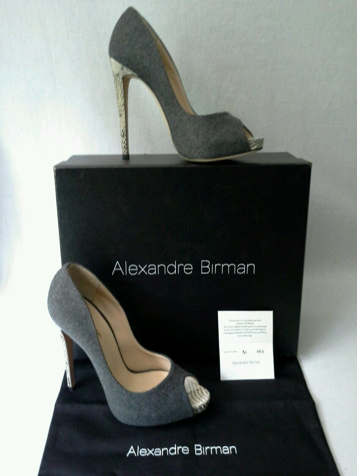 Alexandre Birman Hilary Stiletto bombas de lana Pitón Piel Piel Piel De Serpiente Talla 7 38 Italia  815  envío gratuito a nivel mundial