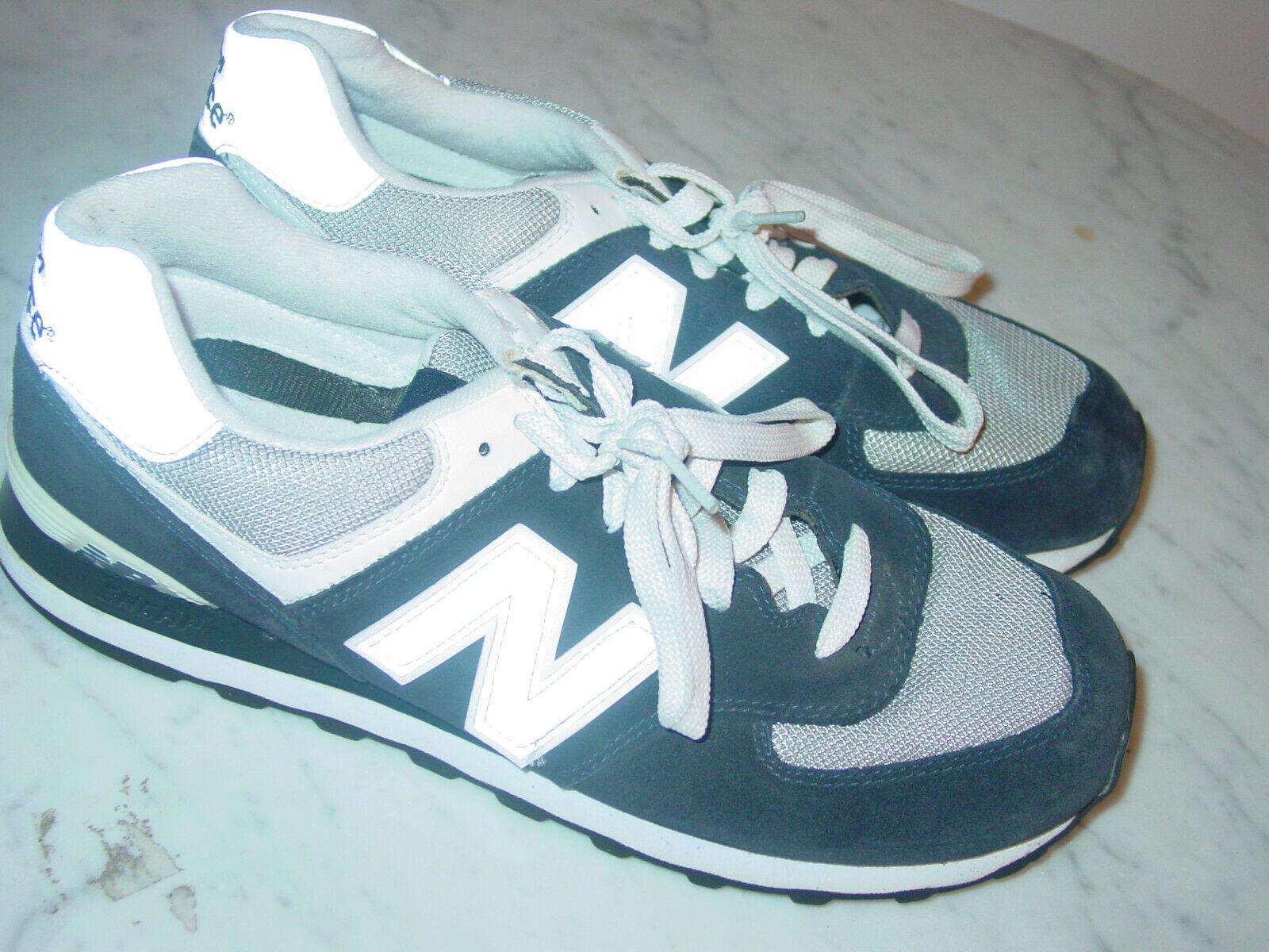 Mens New Balance 574  M574BGS  Navy Light Grey White Running shoes  Size 9.5
