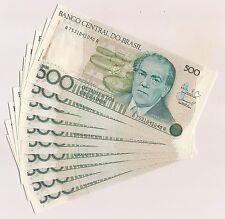 Ten Banco Central Do Brazil Quinhentos Cruzados Banknotes--Pristine Condition !