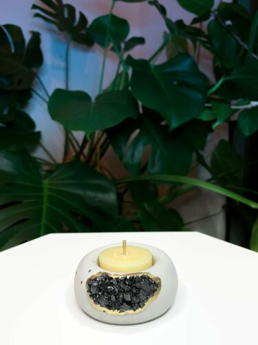 Crystals Air Plant Holder Black Tourmaline Geode Candle Holder Crystal Pot