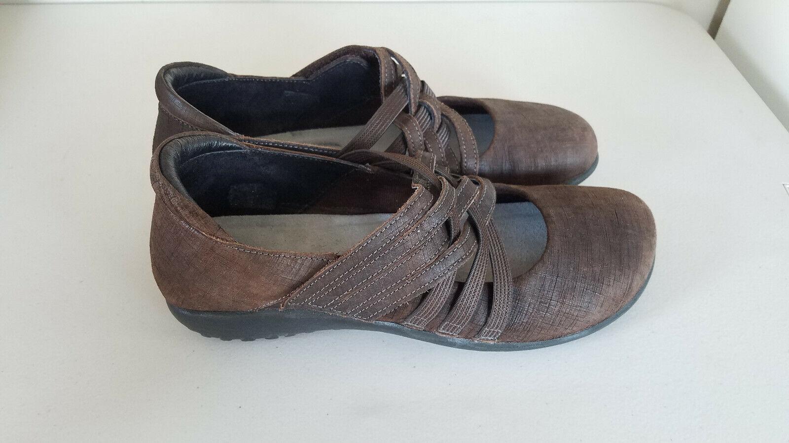 Naot Naot Naot kawaka Woven Strap Marrón Mary Jane Tacón Bajo Talla 39 US 8 Zapatos  estilo clásico