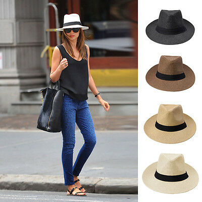 Women Men Straw Ribbon Hat Unisex Pinch Crown Panama Sunhat Beach Cap Derby