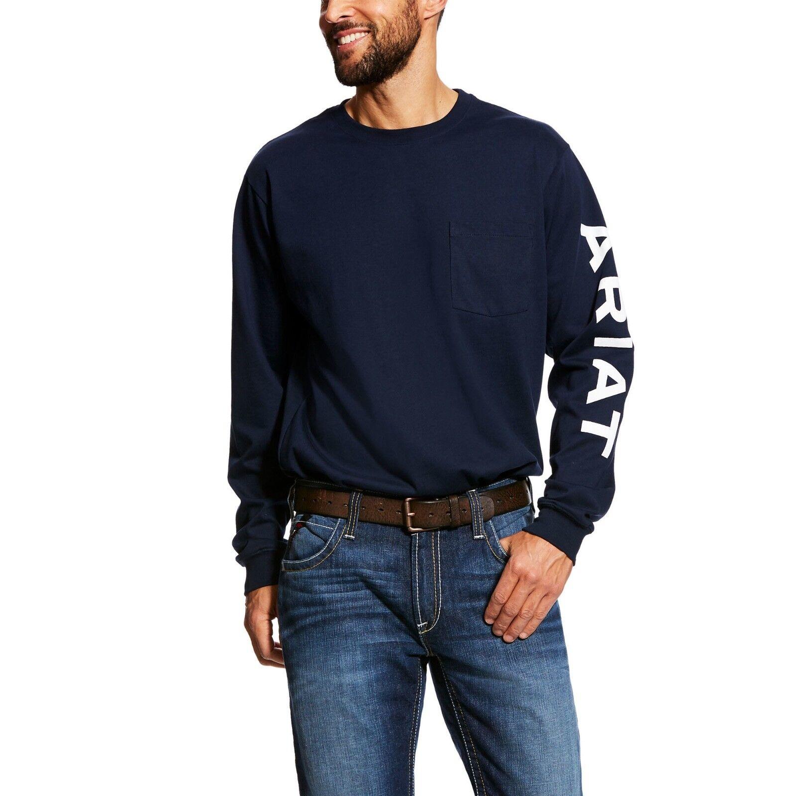 Ariat ® Para hombres Mangas Largas Azul marino  con logotipo FR embolsada Camiseta 10023950  Todo en alta calidad y bajo precio.