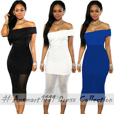 Sexy Casual Midi Stretch Bodycon Office Cocktail Party Wear One Shoulder Dress