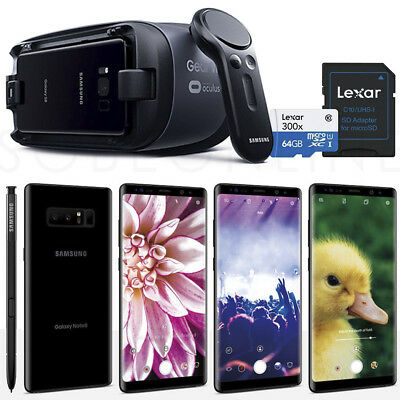 """Samsung Galaxy Note 8 SM-N950 64GB 5.7"""" (Unlocked) +GEAR VR +64gb SD Card Bundle"""