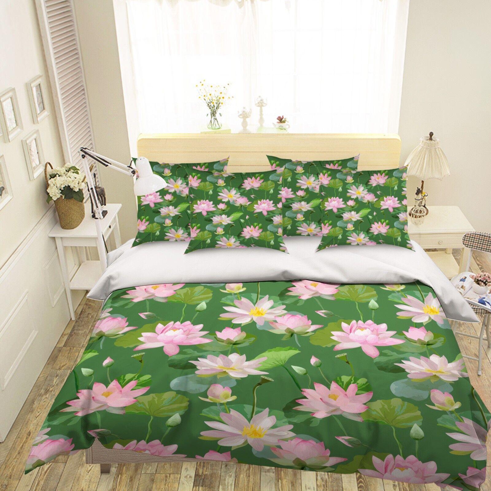 3D Pink Lotus 55 Bed Pillowcases Quilt Duvet Cover Set Single Queen King AU Cobb