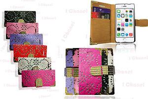 Bling-Glitter-Designer-Diamond-Card-Holder-Book-Flip-Wallet-Case-Cover-Various