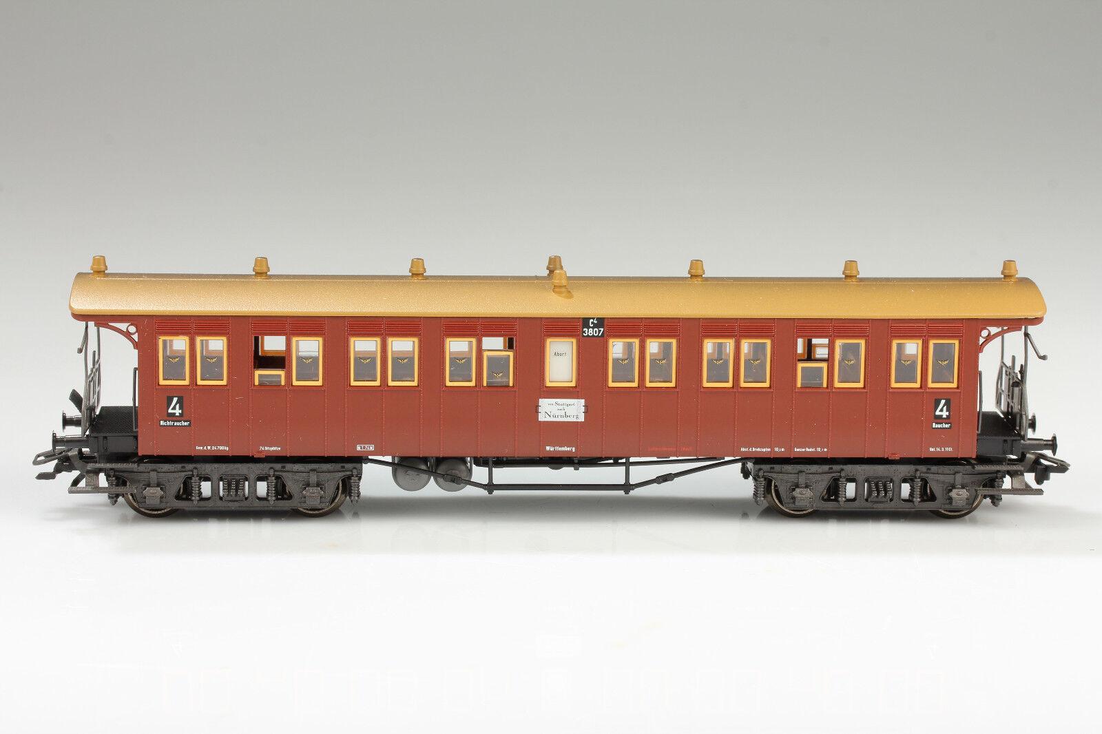 H0   42141 bel treno rapido carro K.W. ST. E. c4 3807 OVP-difetti