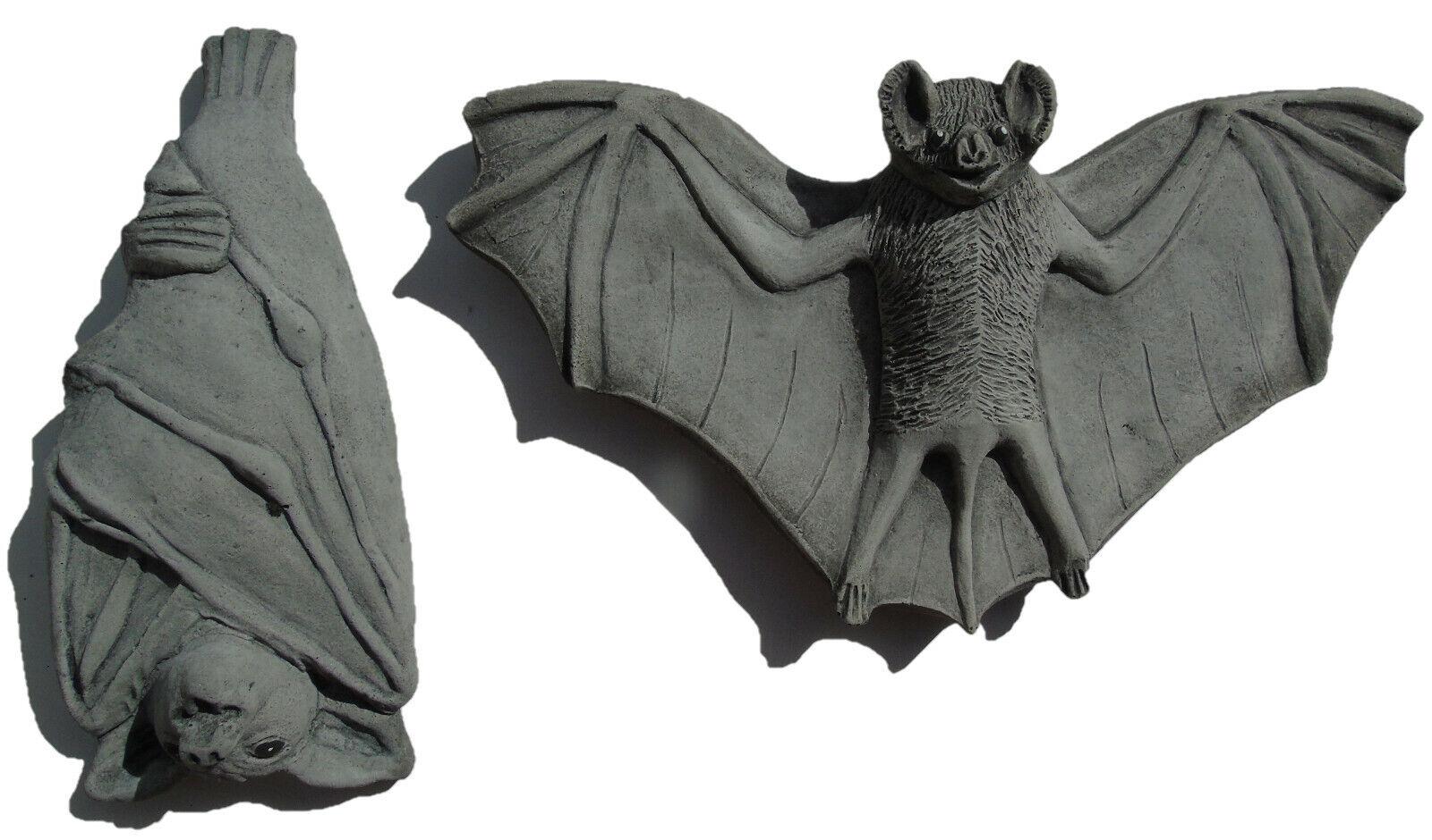 2 pc Bat Wall Plaques Stone Hanging Garden Ornaments Hand Cast