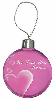 Pink Hearts 'we Love You Mum' Christmas Tree Bauble Decoration Gift, Mum-h2cb Ricco E Magnifico