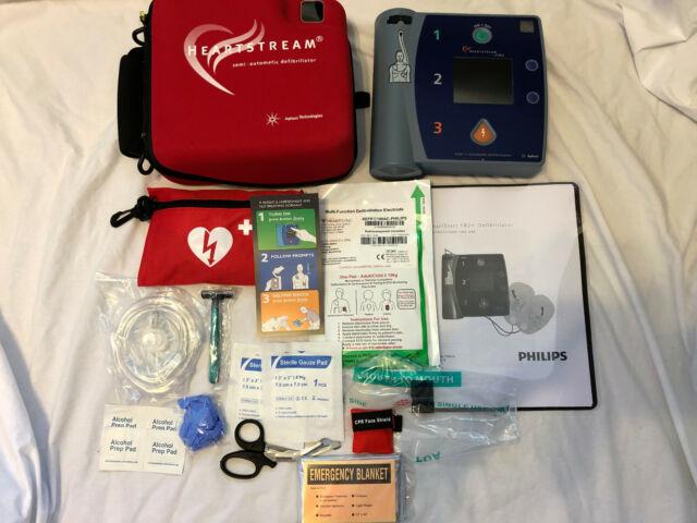 PHILIPS HEARTSTART HEARTSTREAM FR2+ AED DEFIBRILLATOR NEW OEM 2020 BATTERY,  CASE