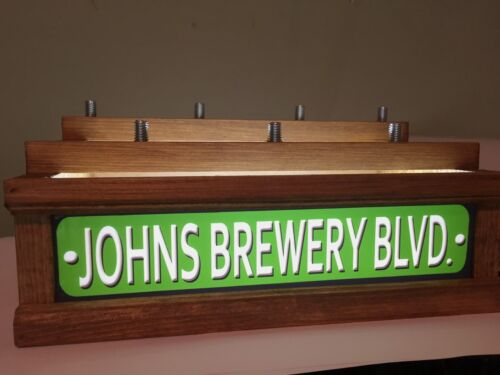 7 BEER tap handle display WITH LED LIGHTED BAR SIGN PERSONALIZED STREET SIGN