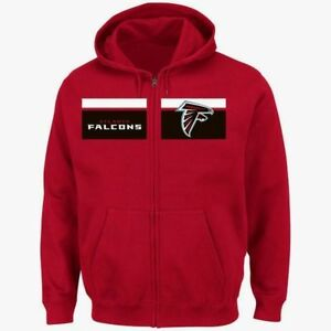 Atlanta-Falcons-Full-Zip-Touchback-Hoodie-3XL-Red-Coolest-Logo-Majestic-NFL