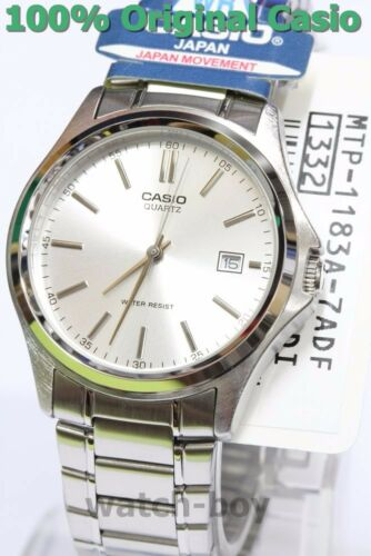 1 of 1 - MTP-1183A-7A Silver Casio Watch Stainless Steel Band Date Display Analog Japan