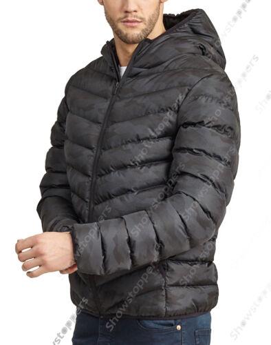 Nuevo para Hombre Acolchado Parka Abrigo Capucha Negro AZUL MARINO Talla Ch M G